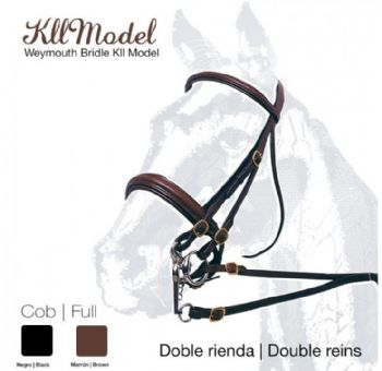 Leather double bridle with wide noseband